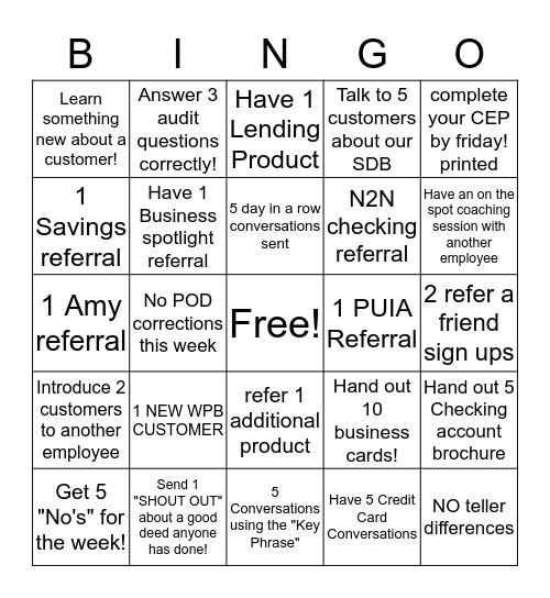 WEEEEK FOURRRR Bingo Card