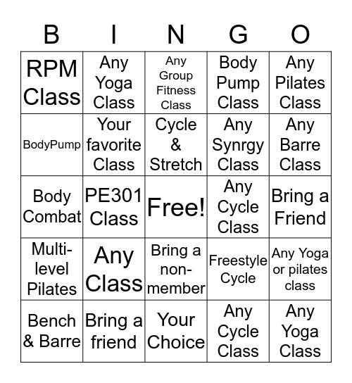 Better Body Bingo Card