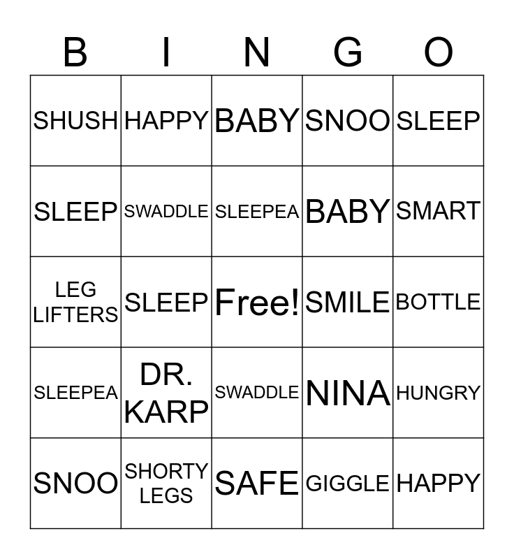Happiest Baby Bingo Card