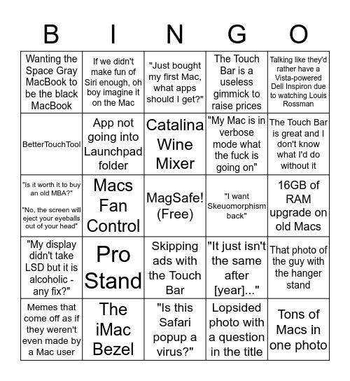 r/Mac 2 - Electric Boogaloo Bingo Card