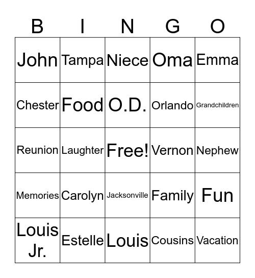 Jackson Family Reunion 2019 Bingo Card
