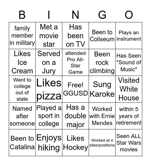 GGSAA 2019 Bingo Card