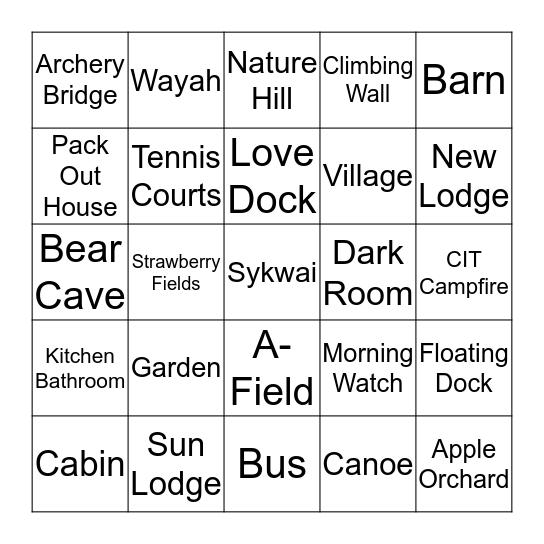~Camp Bingo~ Bingo Card