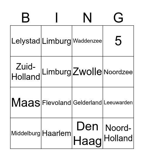 Topografie Nederland Bingo Card