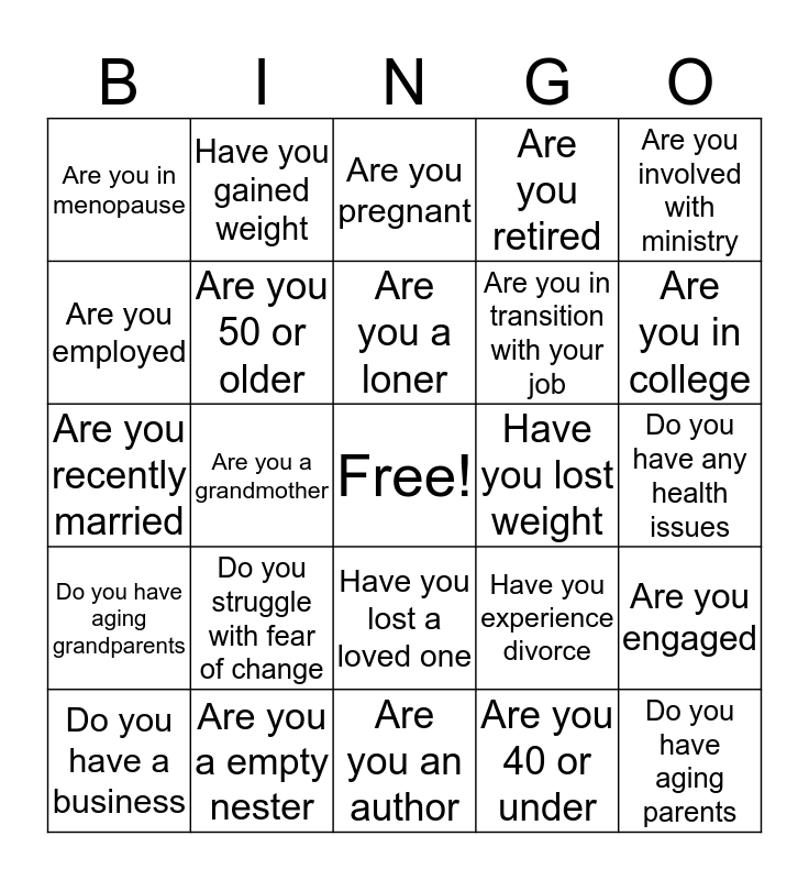 Women In Transition  Bingo Card