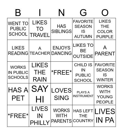 PHILLYSUN  Bingo Card