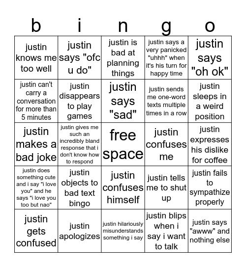 bad text bingo: 2 Bingo Card