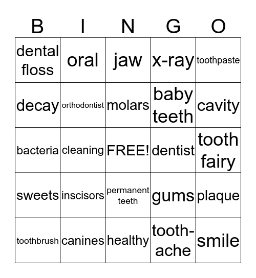 Dental Care 1 Bingo Card