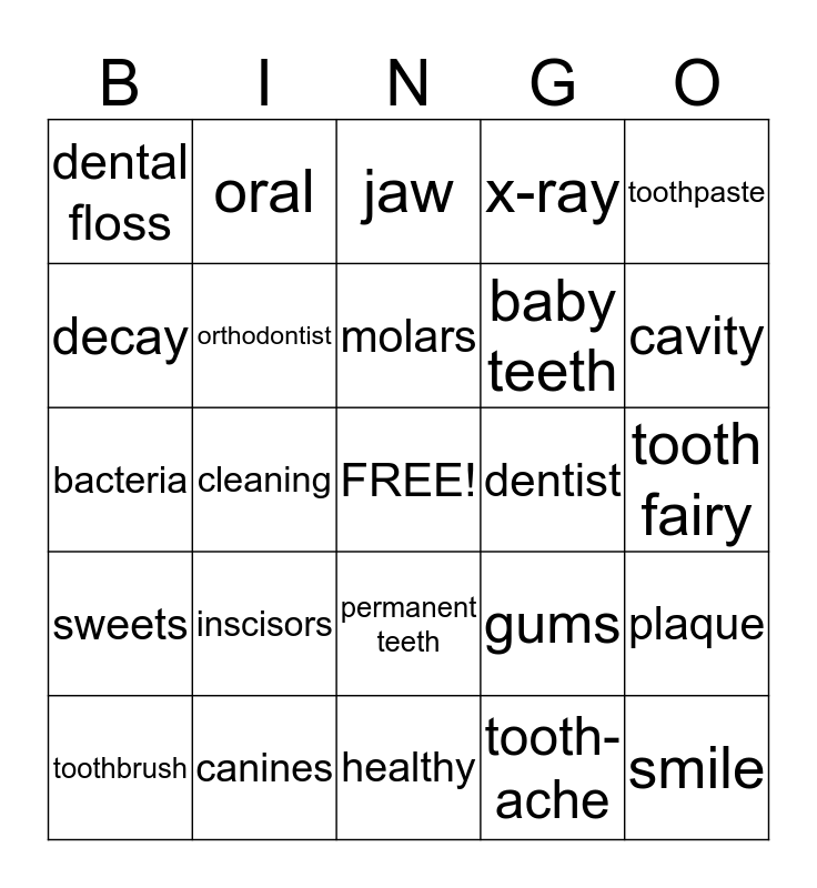 Dental Care 1 Bingo Card