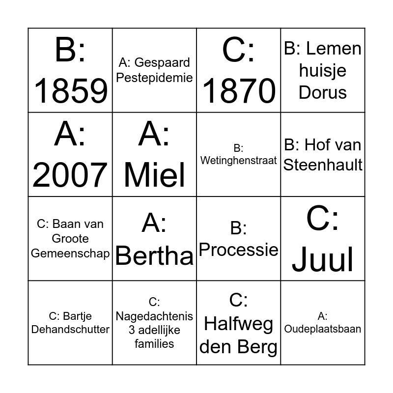 Buurtfeest Bingo 2019 RONDE 3/3 Bingo Card