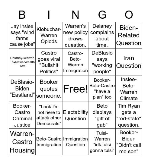 Warren Debate Bingo Card