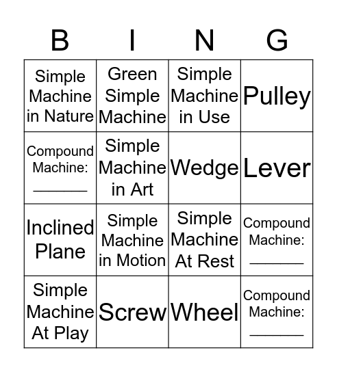 Simple Machines Bingo Card