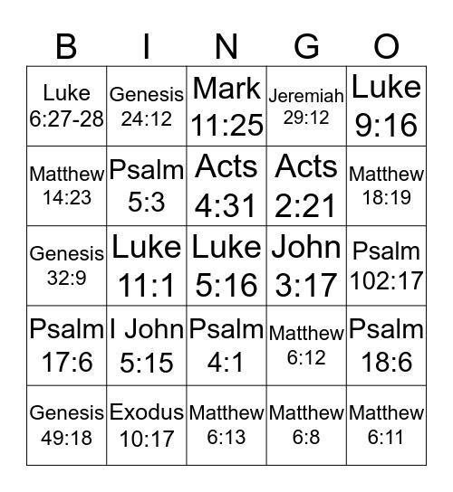 Prayer Bible Bingo Card