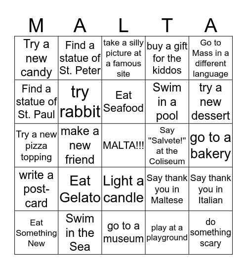 Lulu and Felix's Vacation  Bingo Card