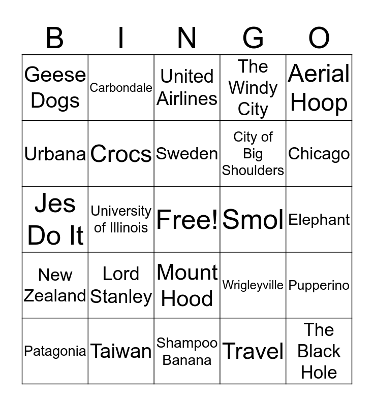 All About Jes Bingo Card