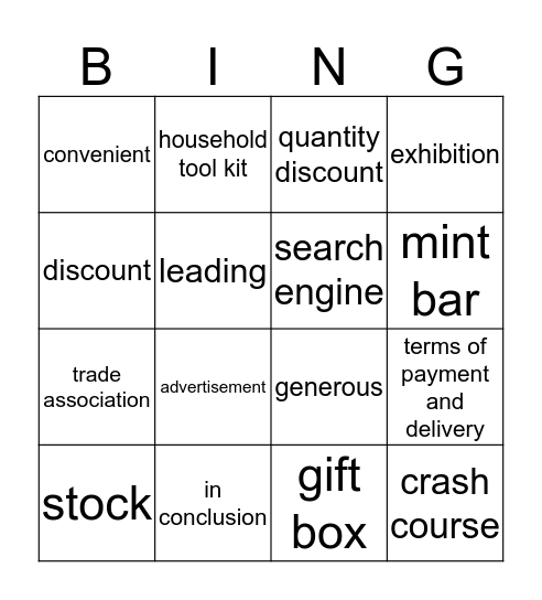 Business Milestones Unit 9 Enquiries Bingo Card