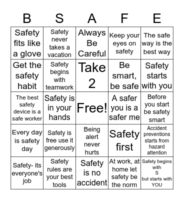 Safety Slogan Bingo Card