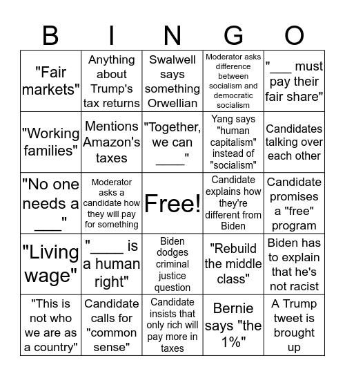 Democratic Debate Bingo - Night 2 Bingo Card