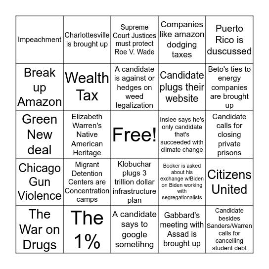Democratic Debate Night One Bingo Card