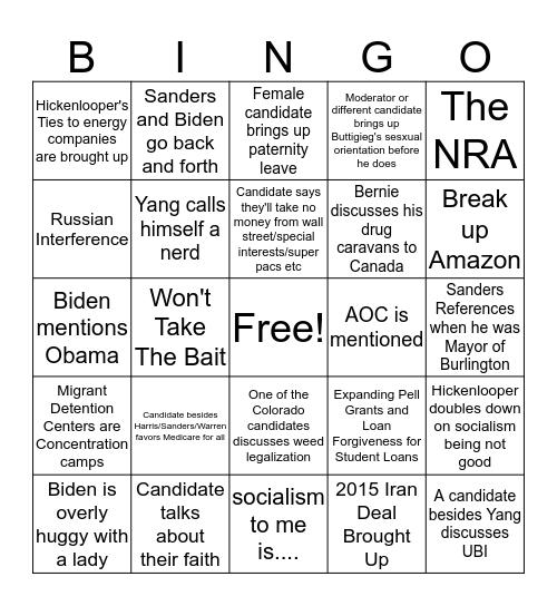 Democratic Debate Night Two Bingo Card