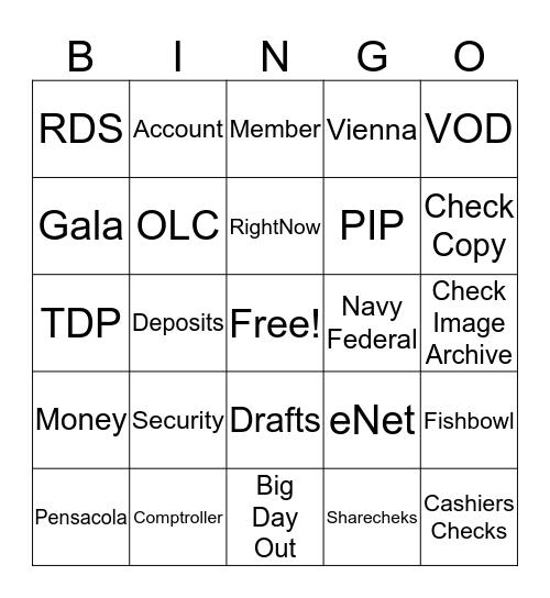 T&DF Bingo!  Bingo Card