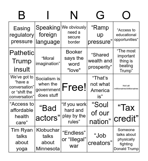 Democratic Debates: Night 1 Bingo Card