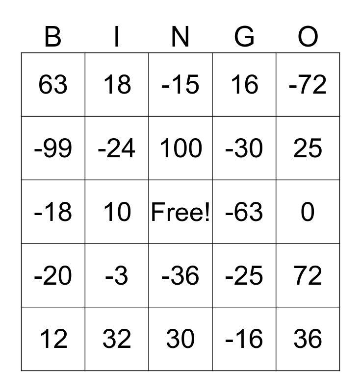 Math Bingo Card
