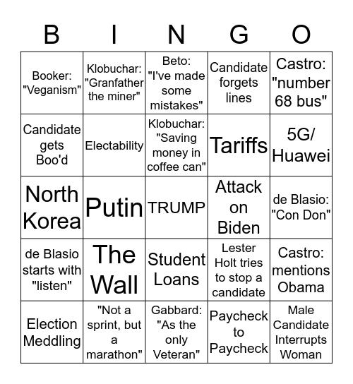 2020 Democratic Debate First Night Bingo Card