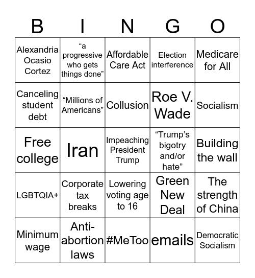 Democratic Bingo Card