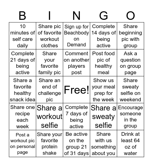 Fit And Healthy Bingo Card