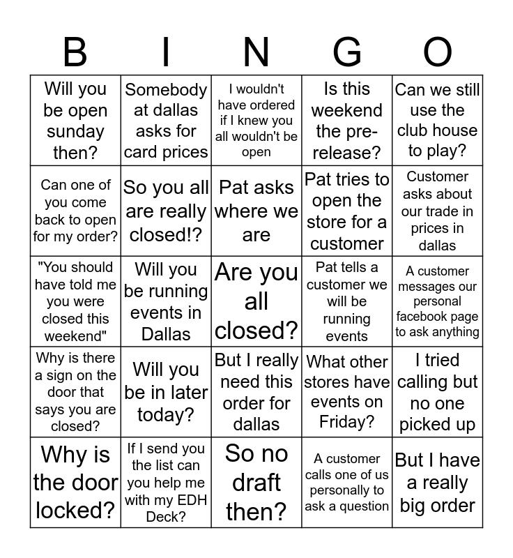 Pat's Staff Bingo Card