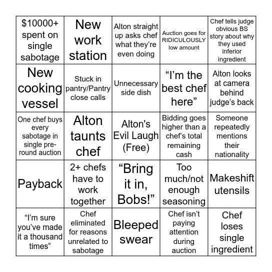 Cutthroat Bingo Card