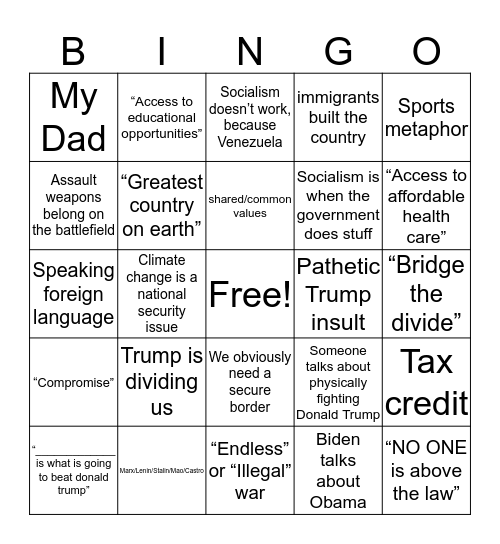 Democratic Debates: Night 2 Bingo Card