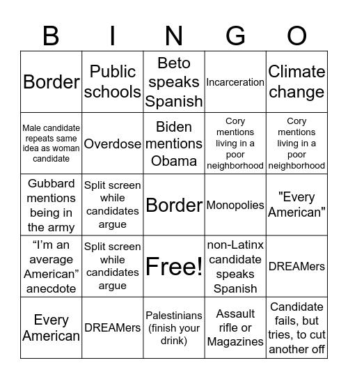 Debate-a-palooza Drunk-a-rooza Bingo Card