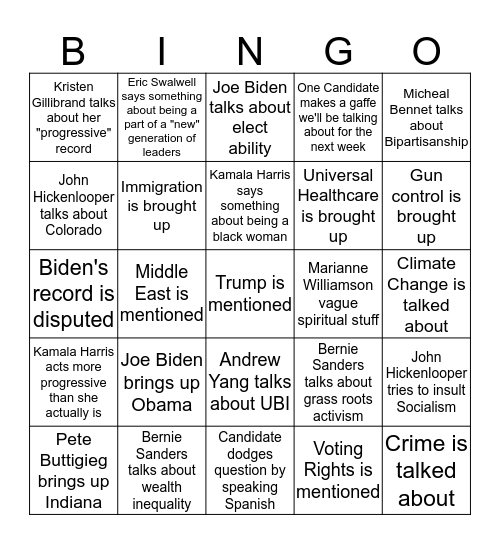 2020 Democratic Debate: Night Two Bingo Card