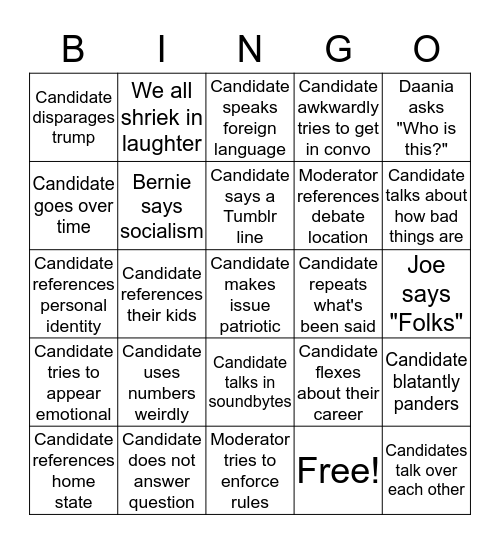 Democrat Debate Bingo Card