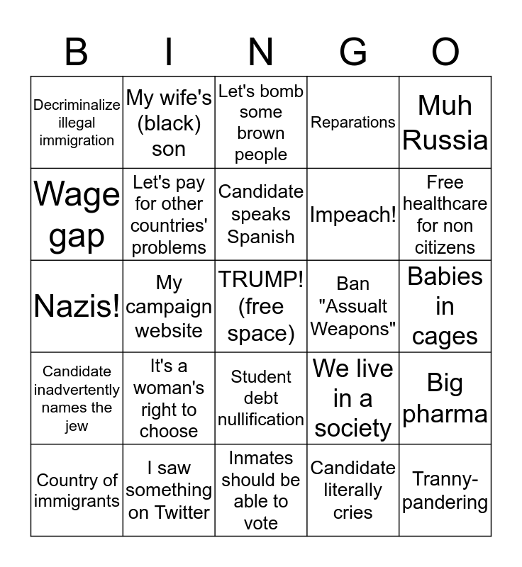 Dem Debate Bingo Card