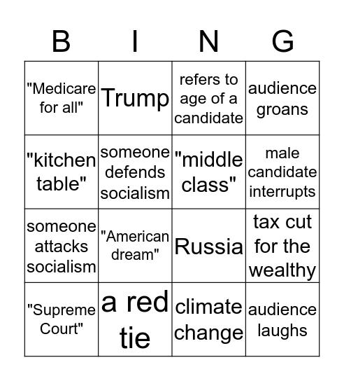 Primary Debate Bingo! Bingo Card