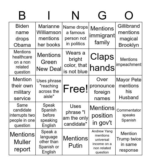 2nd Day Debate Bingo Card