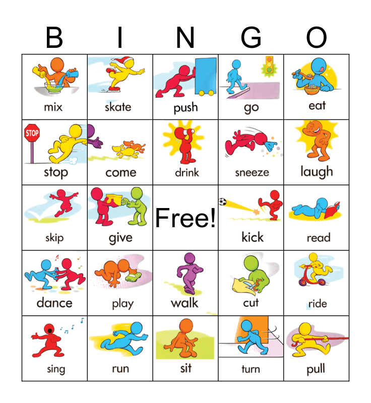 Action Verbs Bingo Card