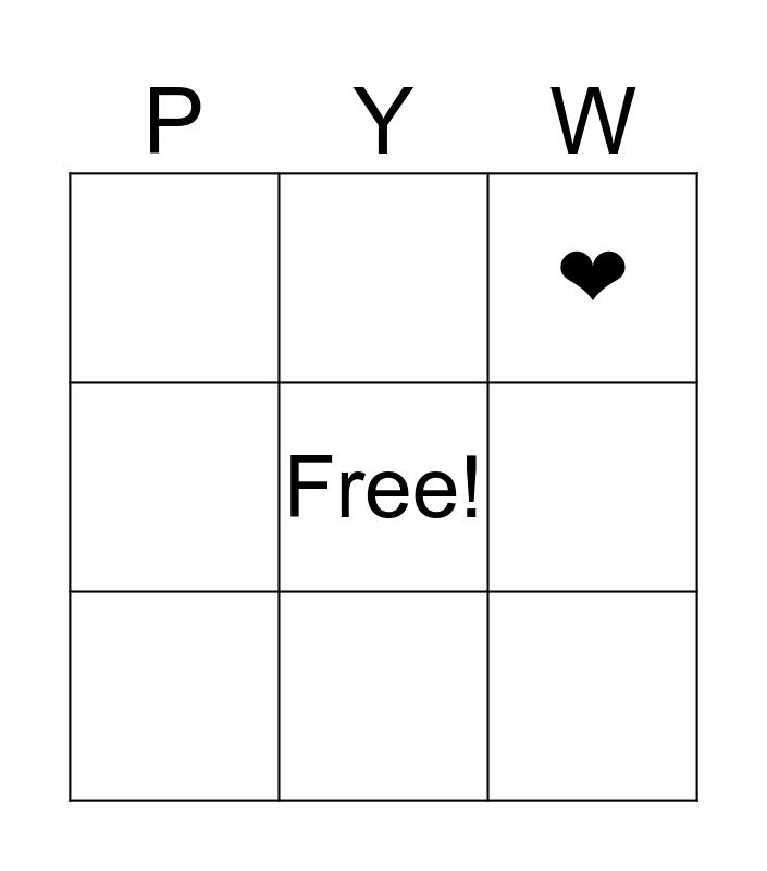 Pack Your Wagon Bingo Card
