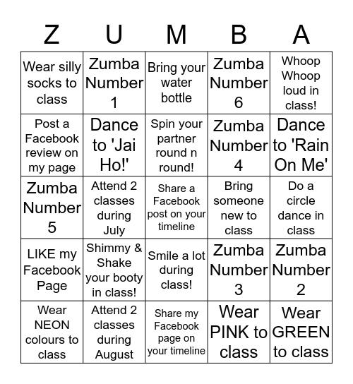ZUMBA Fitness With Joanne BINGO @ Hunton Bingo Card