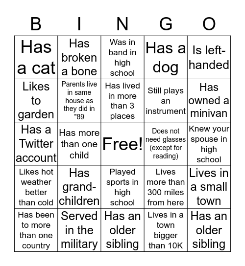 Class of 1989 Reunion Bingo Card
