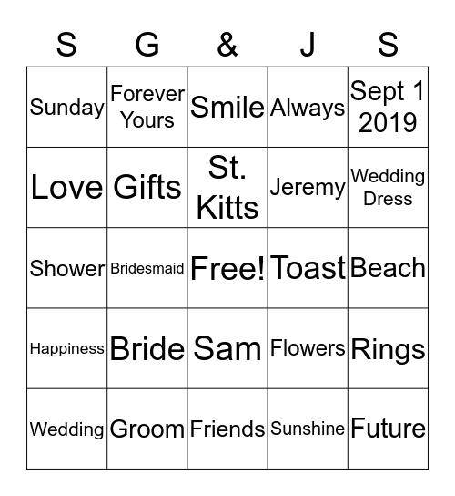 Sam and Jeremy Bingo Card