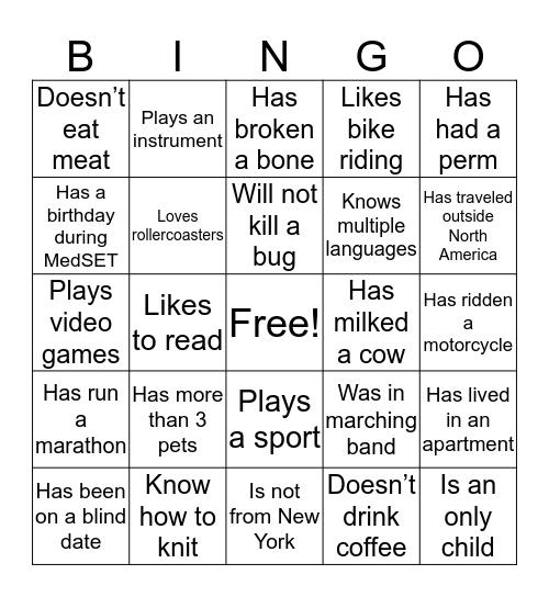 MedSET Bingo Card