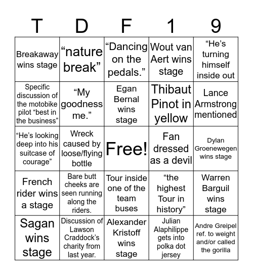 Tour de France 2019 Bingo Card