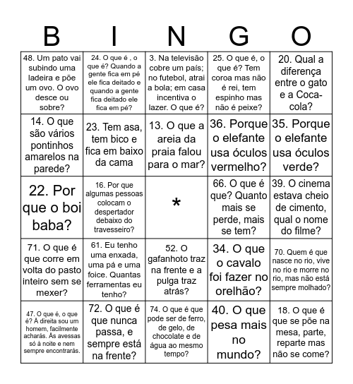 Bingo da Adivinhação Bingo Card