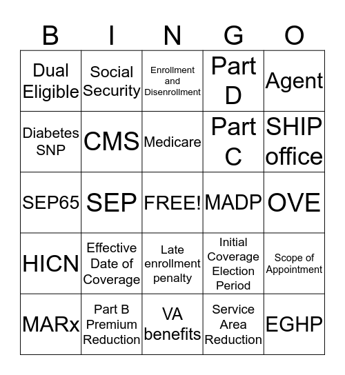 Enrollment  Bingo Card
