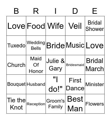 Julie & Gary Bingo Card