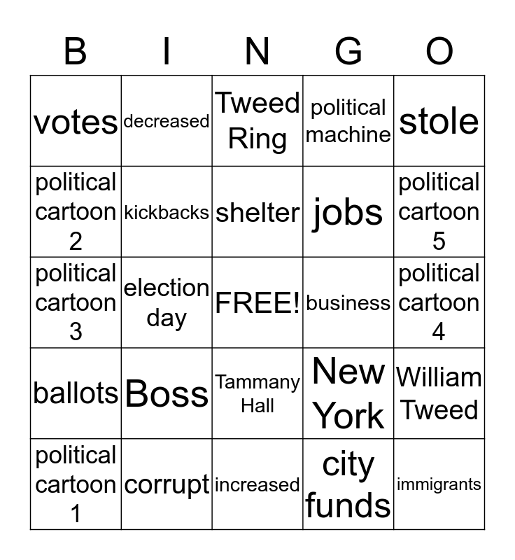 """How did the political machine corrupt city government?"" Bingo Card"